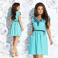 Летнее натуральное льняное платье вышивка шнуром (3 расцв.)