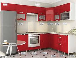 Кухня Угловая из МДФ покрытый пленкой Красная