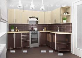 Кухня Угловая из ДСП Венге светлый верх, Венге темный низ в алюминиевой рамке!