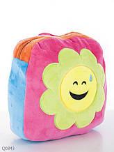Плюшевый квадратный детский рюкзак с цветочком