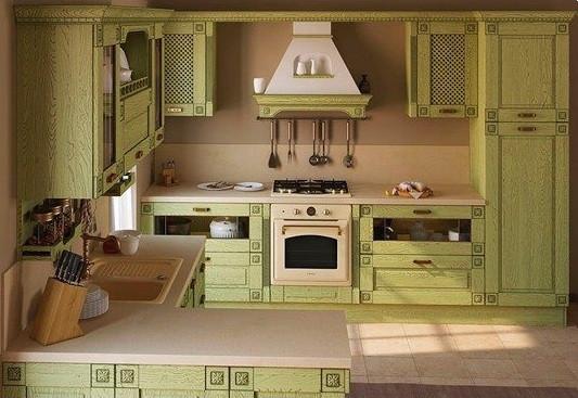 """Кухня """"Флореале-Верде"""" из массива"""