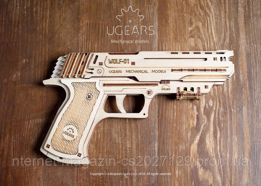 Механічний конструктор 3Д пазли «Пістолет Вольф-01»