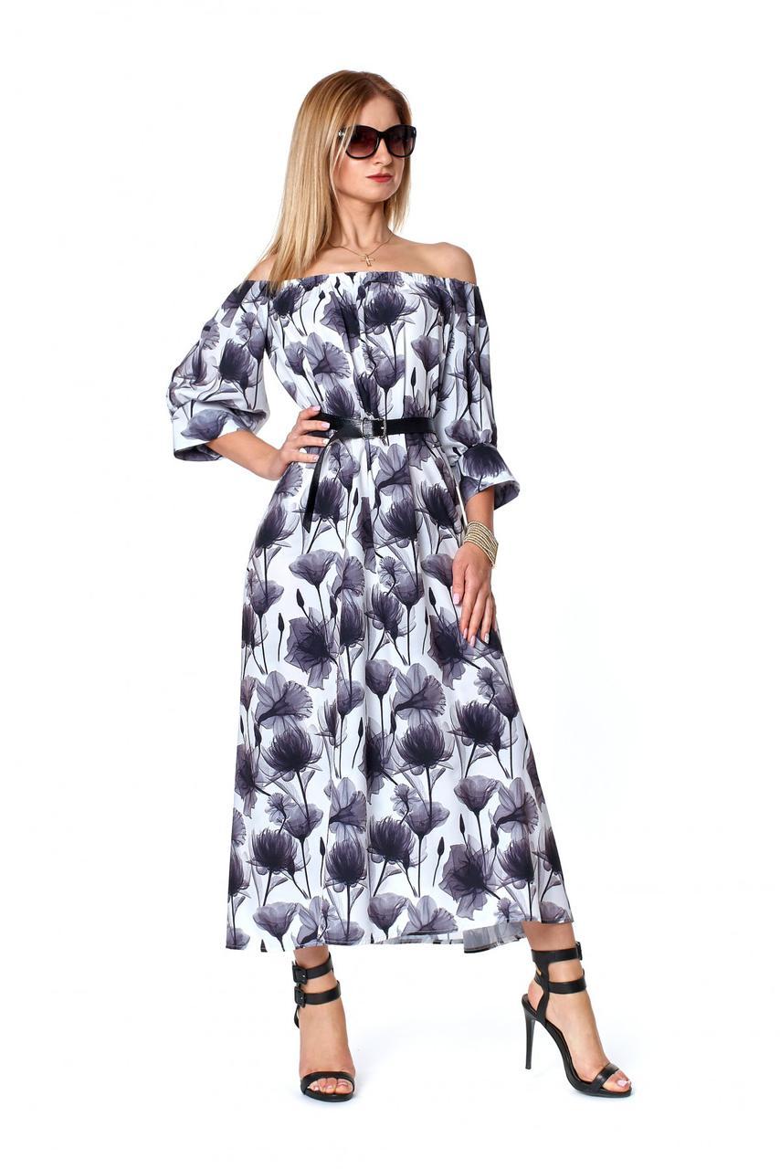 Летнее платье с открытыми плечами серого цвета 1079
