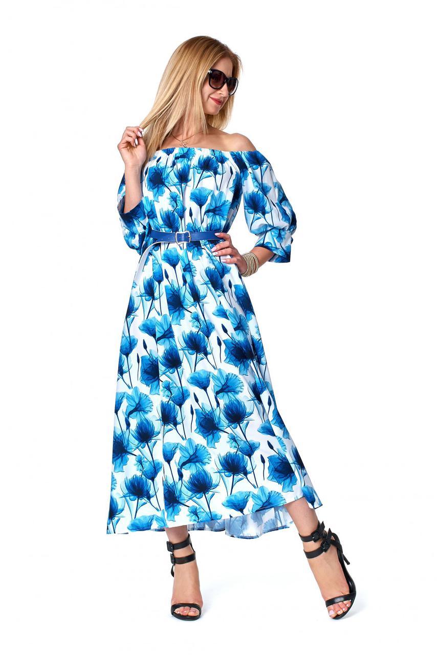 Летнее платье с открытыми плечами цвета электрик 1079