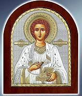 Икона серебряная греческая Пантелеимон