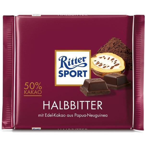 Шоколад Ritter Sport черный шоколад 50% какао