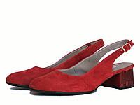 Красные замшевые босоножки женские на низком каблуке