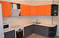 """Кухня """"Серо-оранжевая"""" из пленочного МДФ, фото 1"""
