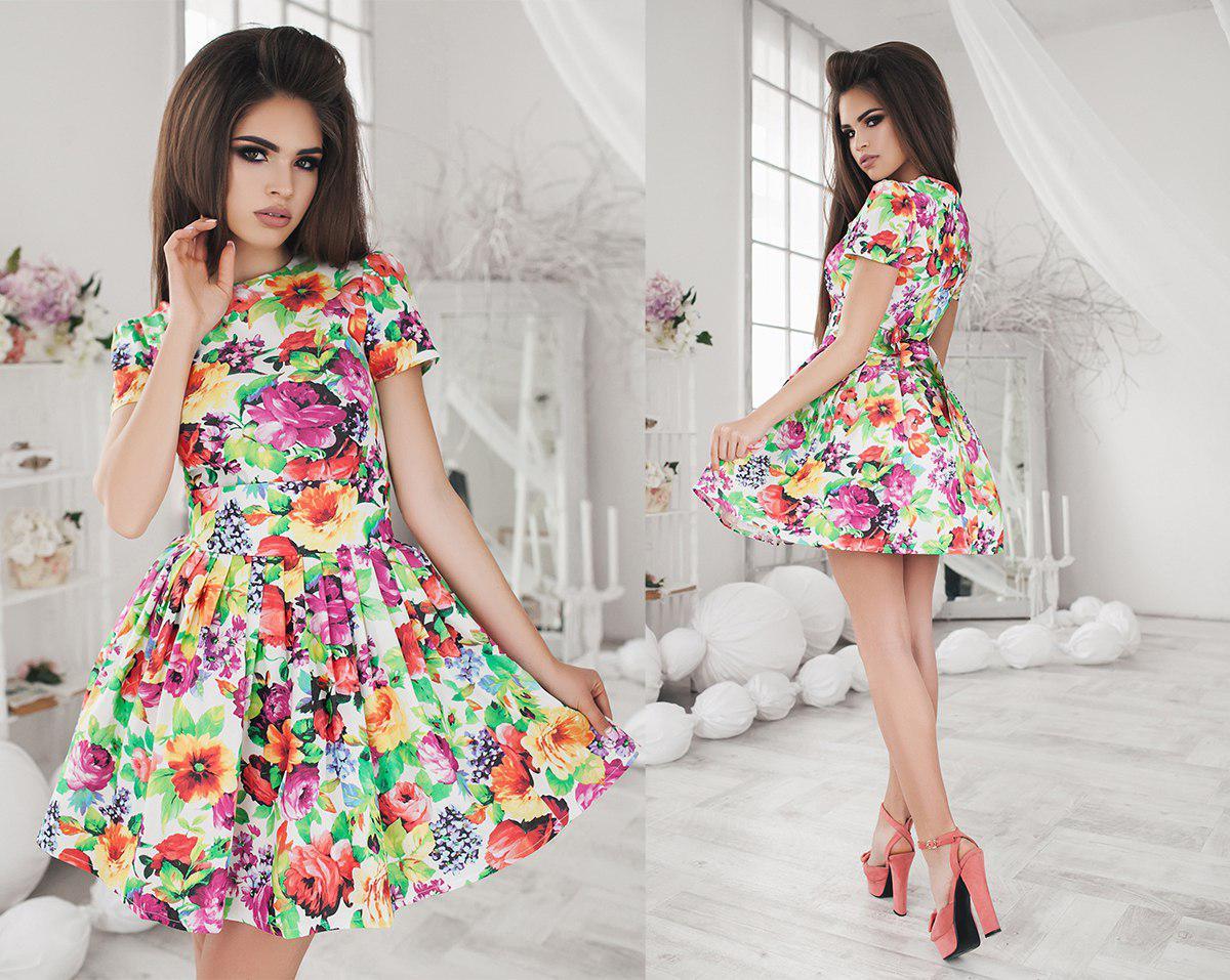Платье летнее, летний джинс, мини, с пышной юбкой, пять цветов, размеры 42,44,46 код 1061Т
