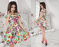 Платье летнее, летний джинс, мини, с пышной юбкой, пять цветов, размеры 42,44,46 код 1061Т, фото 1