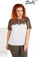 Нарядная блуза верх и рукава кружево Батал до 56р 16346-1, фото 1