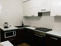 Кухня Глянцевый акрил зебрано и белый, фото 1