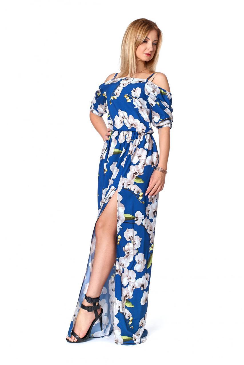 Платье в пол с орхидеями синего цвета сл 1067