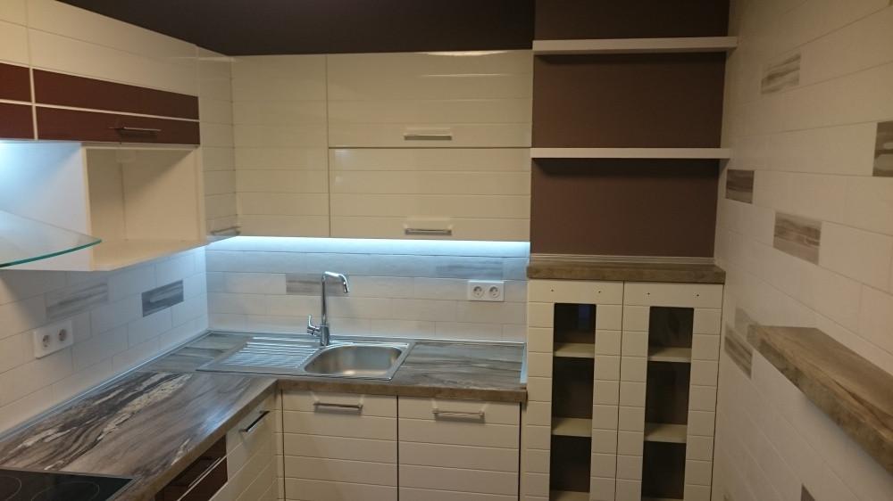 Кухня Белый глянец и Шпон из пленочного МДФ