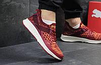 Молодежные кроссовки Puma Ignite Evoknit, бордовые с оранжевым (Реплика)