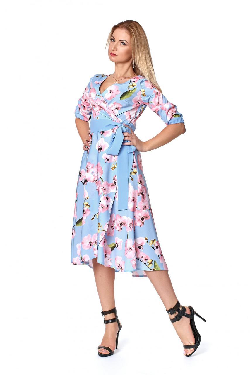 Платье на запах голубого цвета сл 1062