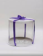 Коробка для торта белая с прозрачной стенкой Ø35 H26