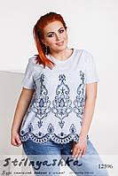 Блузка с вышивкой большого размера синяя