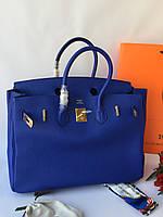 Женская сумка Гермес Биркин 35 см синяя (реплика), фото 1