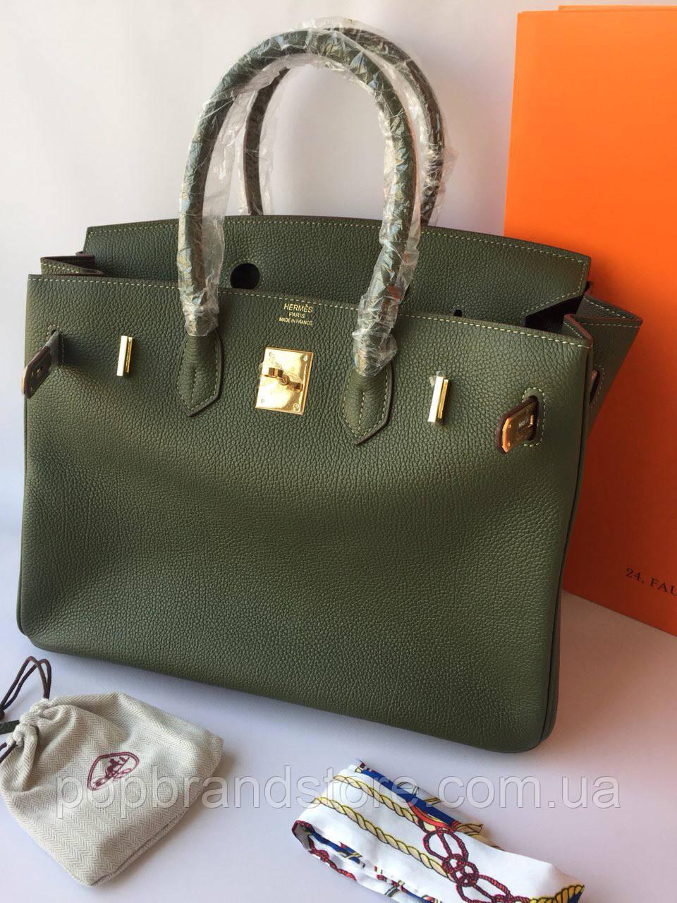 ae6a35bf202e Женская сумка Гермес Биркин 35 см оливка (реплика) - Pop Brand Store    брендовые