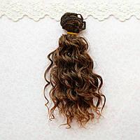 Волосы для кукол мокрые кудри в трессах, омбре шангрила  - 15 см
