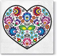 "Салфетка для декупажа 33*33 ""Сердце из цветов"" 18,5г/м2"