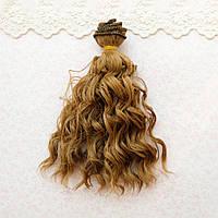 Волосы для кукол мокрые кудри в трессах, русые  - 15 см