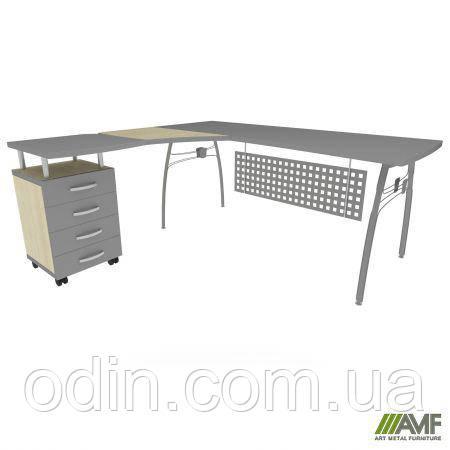 Стол с экраном М471 АртМобил (1830х1670х760мм) клен и серый/кромка серый металлик/металлический карк 140433