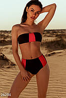Купальник двухцветный женский бандо (3 цвета) Черно-красный ВШ/-21010