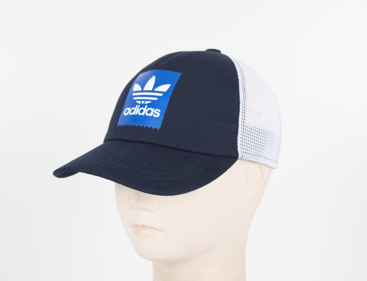 Кепка сетка котон Adidas-2 синий