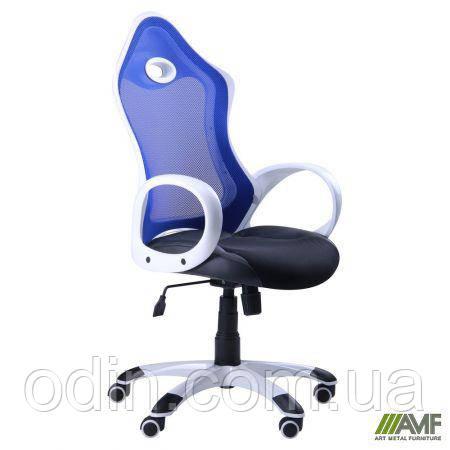 Кресло Матрикс-1 Белый, сиденье Сетка черная/спинка Сетка синяя 024346
