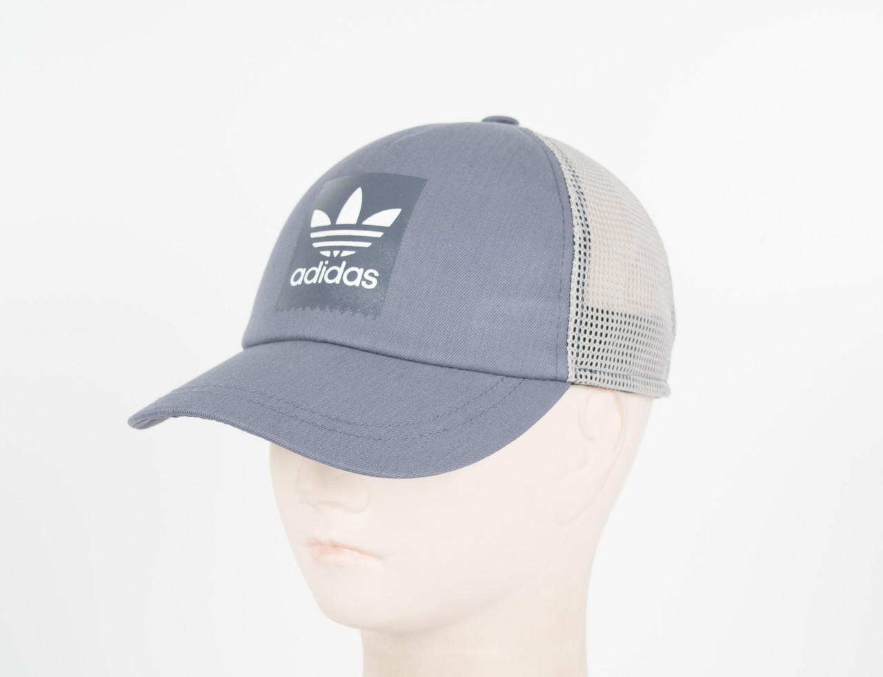 Кепка сетка котон Adidas-2 серый
