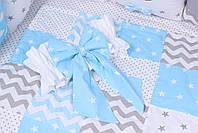 Комплект в дитяче ліжечко з тваринками в блакитних тонах, фото 2