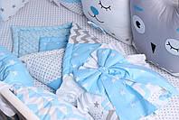 Комплект в дитяче ліжечко з тваринками в блакитних тонах, фото 3