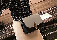 Женскафя серая мини сумочка на цепочке