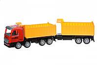 Same Toy Машинка инерционная Super Combination Самосвал (красный) с прицепом