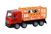 Same Toy Машинка инерционная Super Combination Грузовик (красный) для перевозки животных