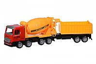 Same Toy Машинка инерционная Super Combination Бетономешалка (красная) с прицепом