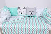 Комплект в детскую кроватку с зверюшками, фото 2