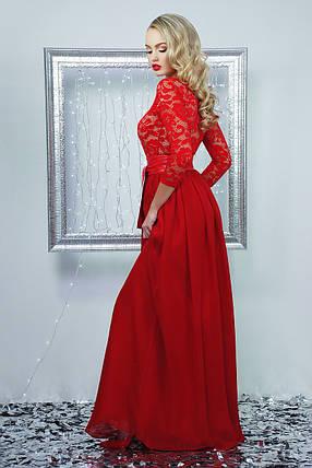 Красивое платье в пол шифоновое с поясом рукав три четверти юбка пышная красное, фото 2