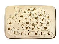 Пазл из фанеры «Улитка». Алфавит. Детская развивающая игра