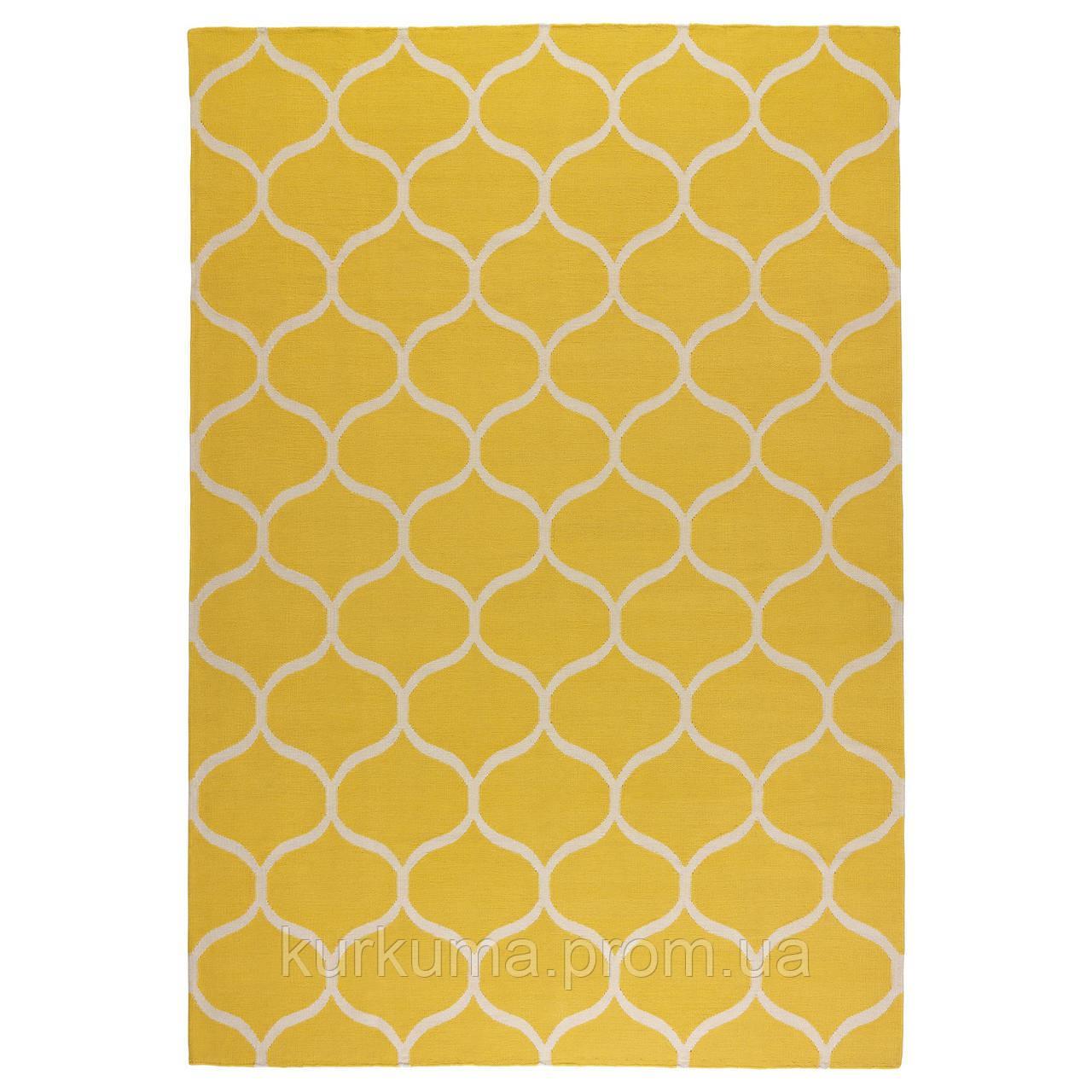 IKEA STOCKHOLM Ковер безворсовый, ручная работа, желтая решетка, желтый  (102.290.35)