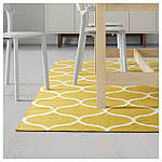 IKEA STOCKHOLM Ковер безворсовый, ручная работа, желтая решетка, желтый  (102.290.35), фото 4