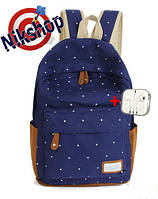 Рюкзак городской в горошек синий