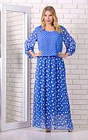 Женское шифоновое синее платье в горох 13306 / размер 56,58