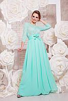 Нарядное платье макси с поясом верх гипюр низ шифон однотонное юбка клеш мятное