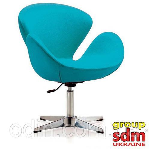 Кресло Сван, основание металл, ткань, цвет голубой SWANBLU