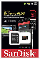 Карта памяти SanDisk Extreme microSDXC сlass10 A1 V30 UHS-I U3 128GB с SD адаптером