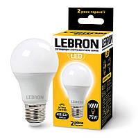 LED лампа LEBRON L-A60, 10W, Е27, 3000K, 850Lm, кут 240°