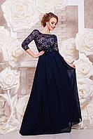 Вечернее платье длинное рукав ниже локтя с поясом полуоблегающее шифон и гипюр синее